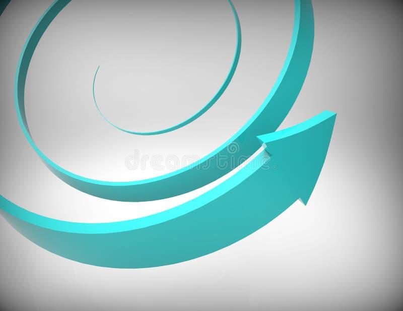 Seta espiral azul 3D ilustração stock