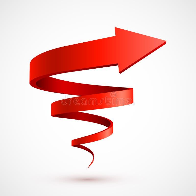 Seta espiral vermelha 3D ilustração royalty free