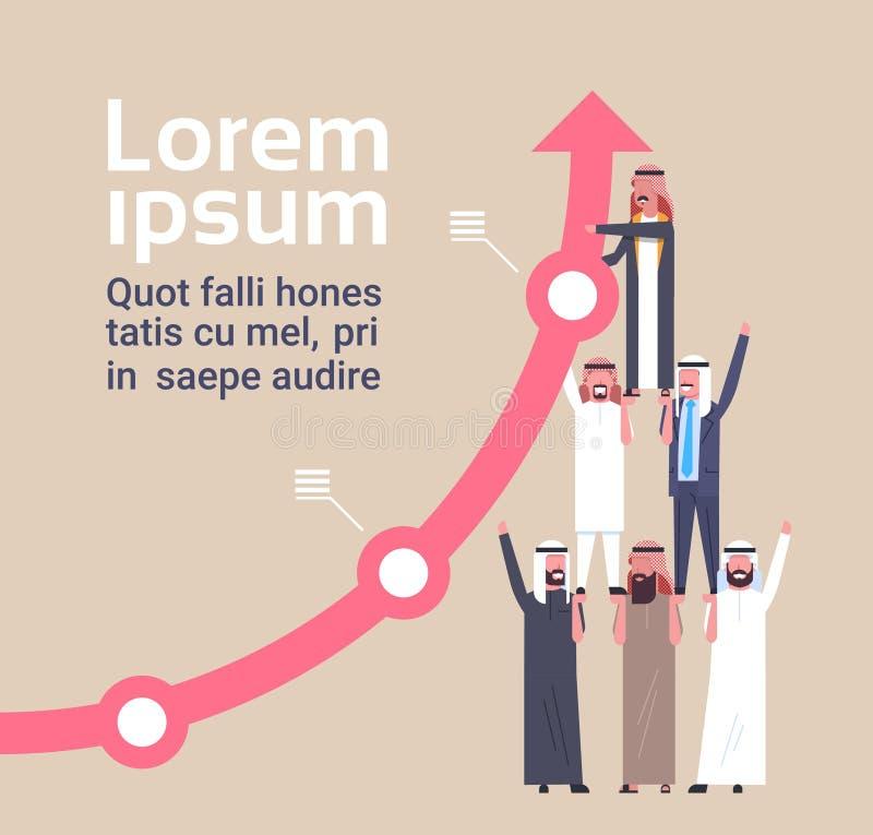 Seta financeira de Team Of Muslim Businesspeople Hold que cresce acima o conceito do sucesso e dos trabalhos de equipa ilustração do vetor
