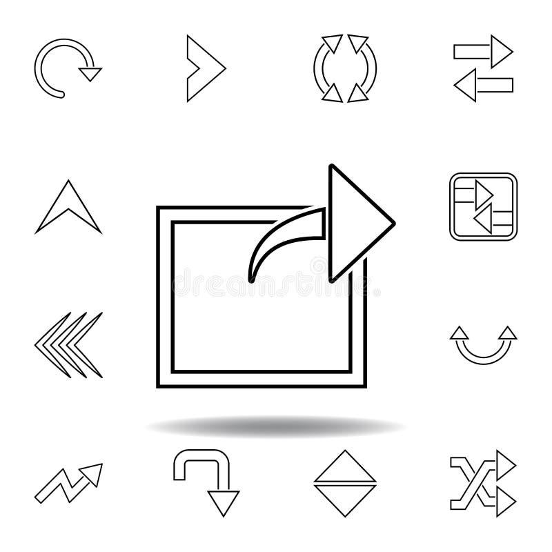 seta fora do ?cone quadrado Linha fina ícones ajustados para o projeto do Web site e o desenvolvimento, desenvolvimento do app ?c ilustração do vetor