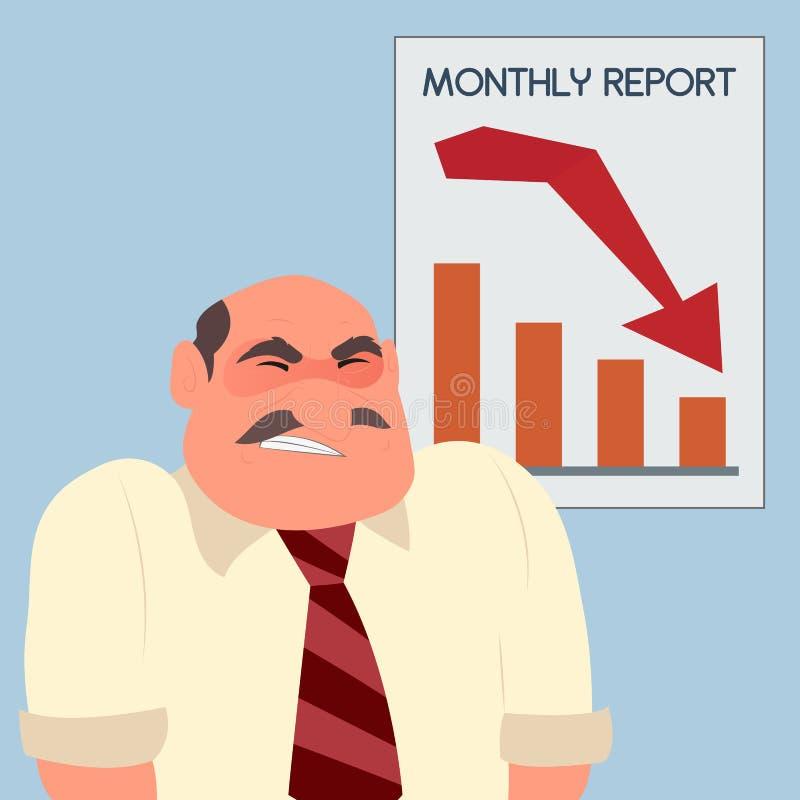 A seta furioso irritada da crise do homem de negócios representa graficamente para baixo ilustração do vetor
