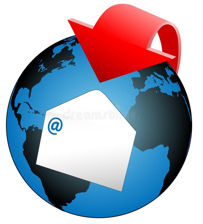 Seta global do email do mundo ilustração stock