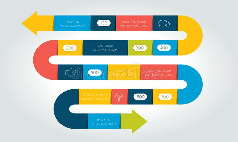 Seta grande infographic, molde da serpente, diagrama, carta, o espaço temporal ilustração stock