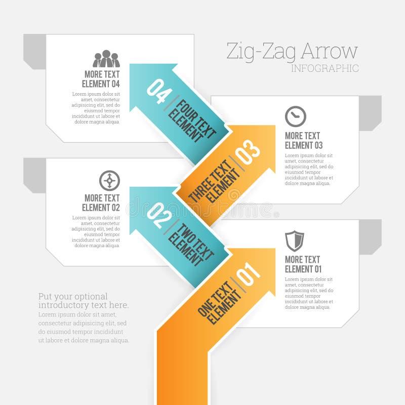 Seta Infographic do ziguezague ilustração do vetor