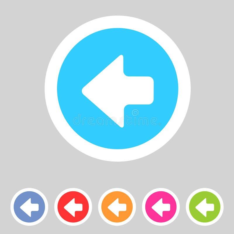 Seta lisa do ícone dos gráficos do jogo deixada ilustração do vetor