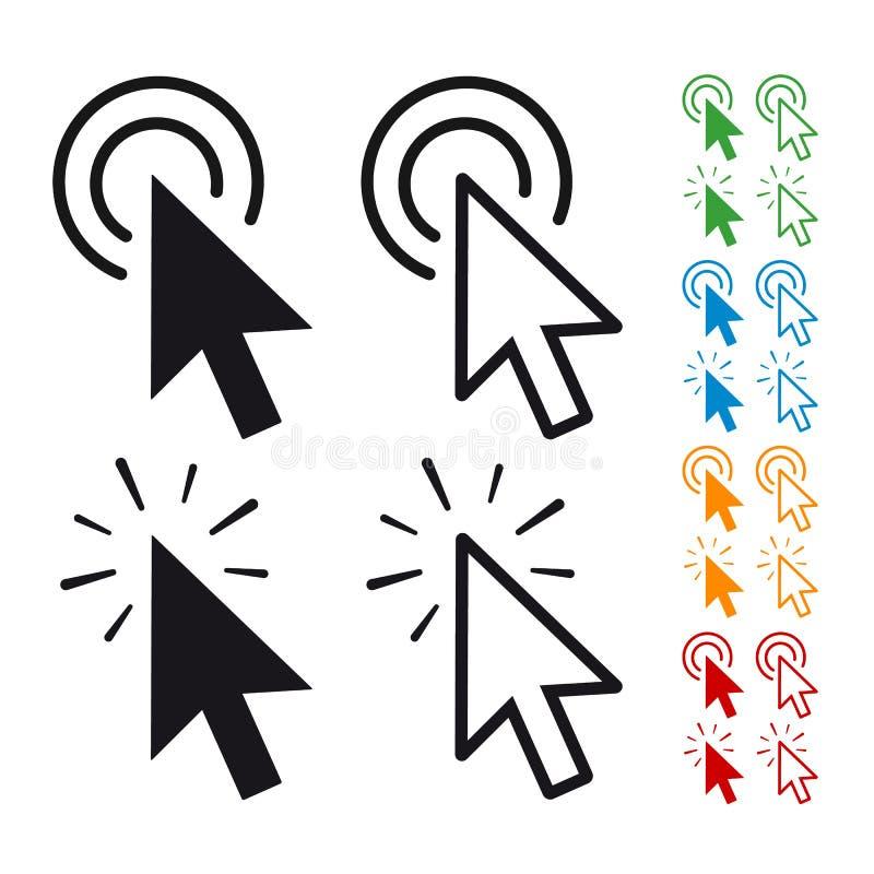 Seta lisa do ícone do ponteiro do clique do rato do computador - ilustração do vetor para Apps e Web site - isolada no fundo bran ilustração royalty free