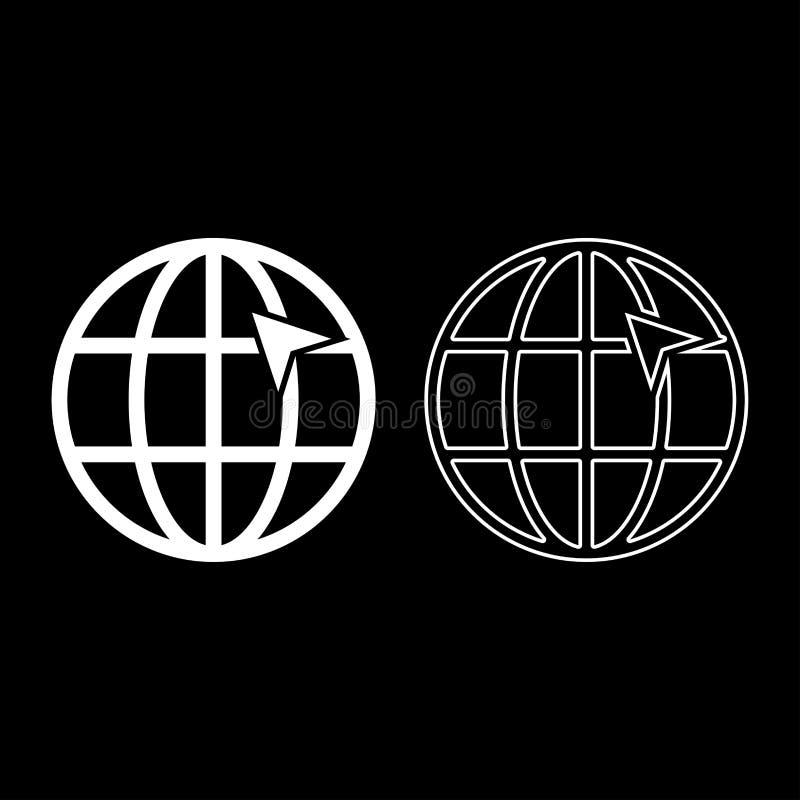 Seta na seta do clique do conceito do internernet do globo da grade da terra na ideia do Web site usando a ilustração branca do v ilustração do vetor