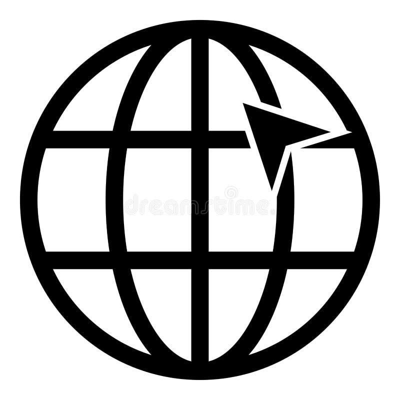 Seta na seta do clique do conceito do internernet do globo da grade da terra na ideia do Web site usando a ilustração do vetor da ilustração stock