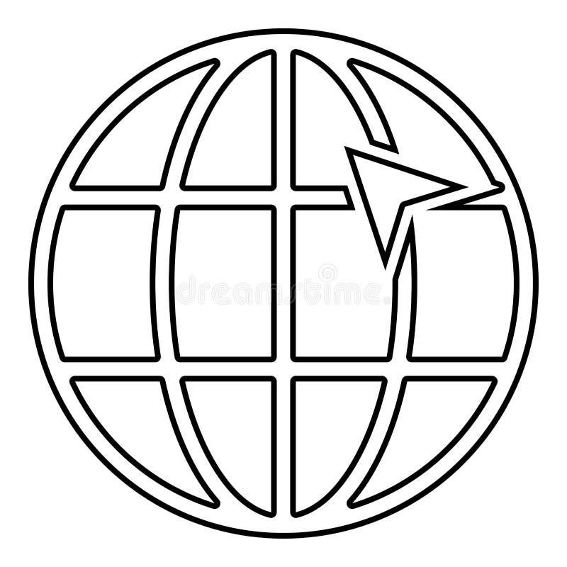 Seta na seta do clique do conceito do internernet do globo da grade da terra na ideia do Web site usando o vetor do esboço da cor ilustração stock