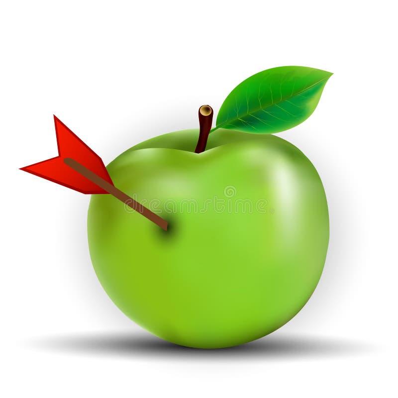 Seta na maçã ilustração stock