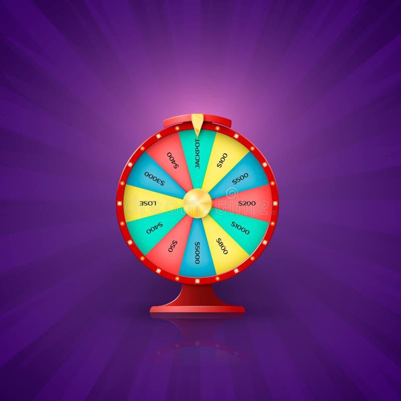 Seta no ponto da roda da fortuna ao entalhe do jackpot Oportunidade da roda da fortuna de ganhar na loteria Ilustração do vetor i ilustração stock