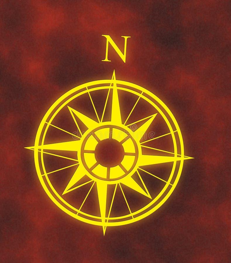 Seta norte do mapa de compasso ilustração stock