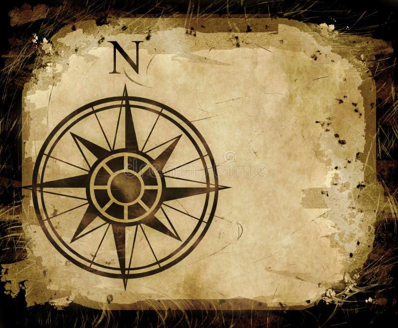 Seta norte do mapa de compasso ilustração royalty free