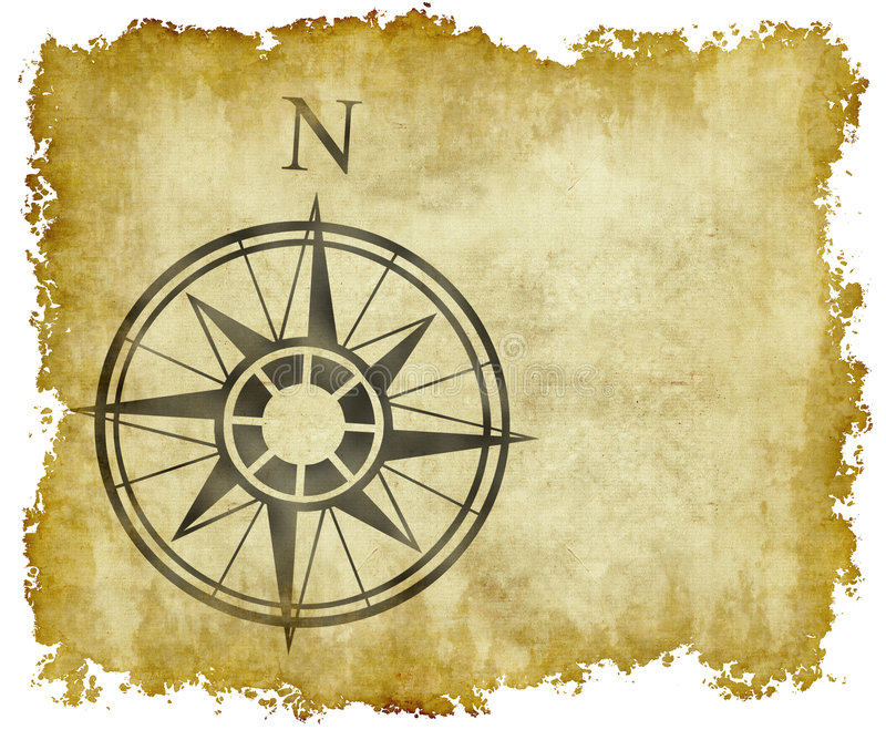 Seta norte do mapa de compasso ilustração do vetor