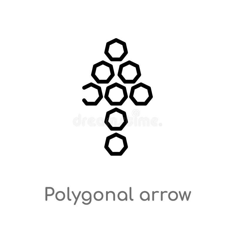 seta poligonal do esboço acima do ícone do vetor linha simples preta isolada ilustra??o do elemento do conceito da geometria Veto ilustração royalty free