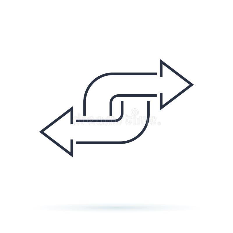 Seta preta do sentido como transferência projeto linear moderno da arte gráfica do logotype da tendência lisa simples isolado ilustração royalty free
