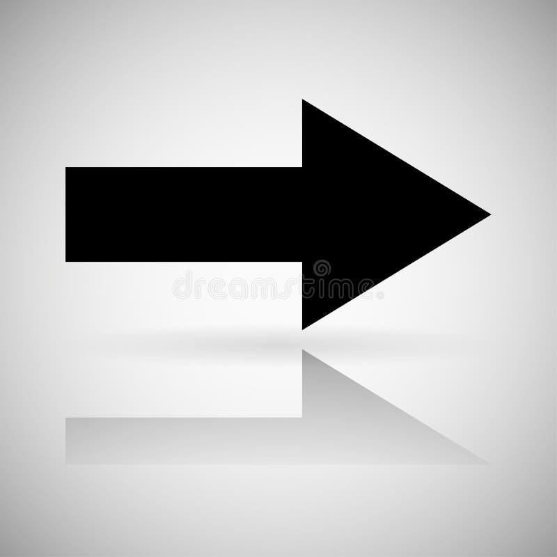 Seta preta Sinal direito reto com reflexão ilustração stock