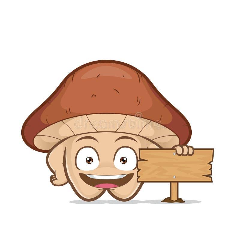 Seta que lleva a cabo una muestra de madera stock de ilustración