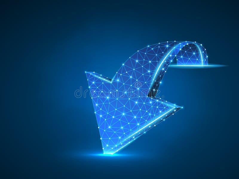 Seta que move para a frente a ilustração 3d de néon do vetor digital do wireframe Baixo visionário poli do negócio, desafio, conc ilustração royalty free