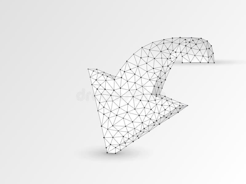Seta que move para a frente a ilustração digital do origâmi 3d do vetor do wireframe Baixo desafio poli do negócio, conceito do o ilustração do vetor