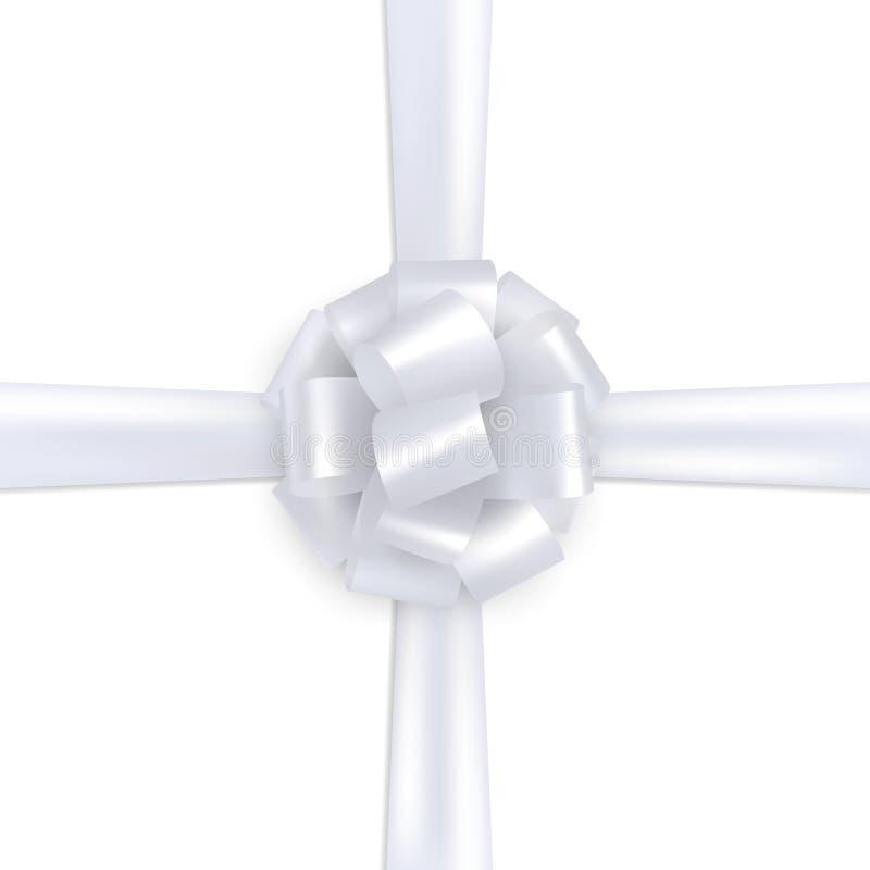 Seta realistica bianca di spostamento di regalo illustrazione di stock