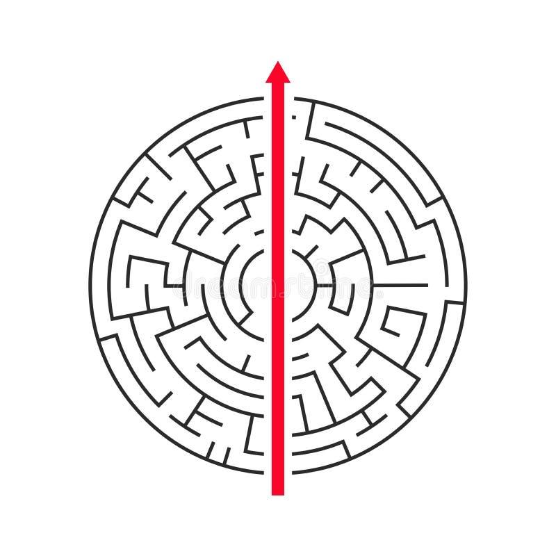 Seta reta que atravessa certo o labirinto no fundo branco ilustração do vetor