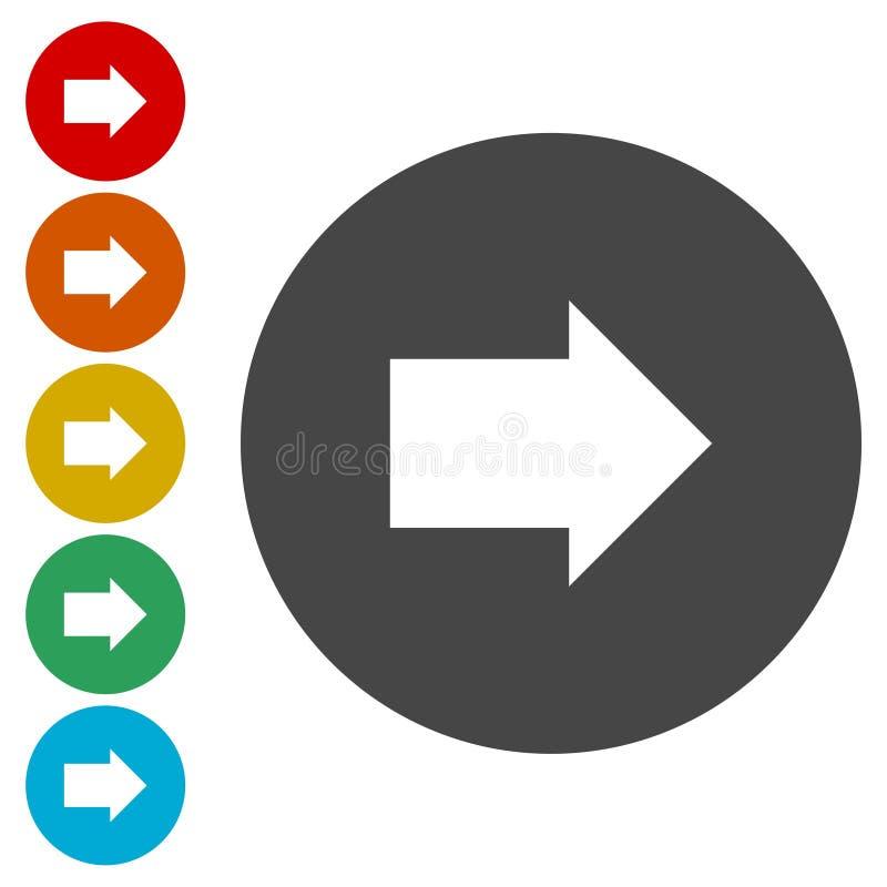 Seta seguinte arredondada ou linha direita ícone da seta direcional da arte para apps e Web site ilustração royalty free