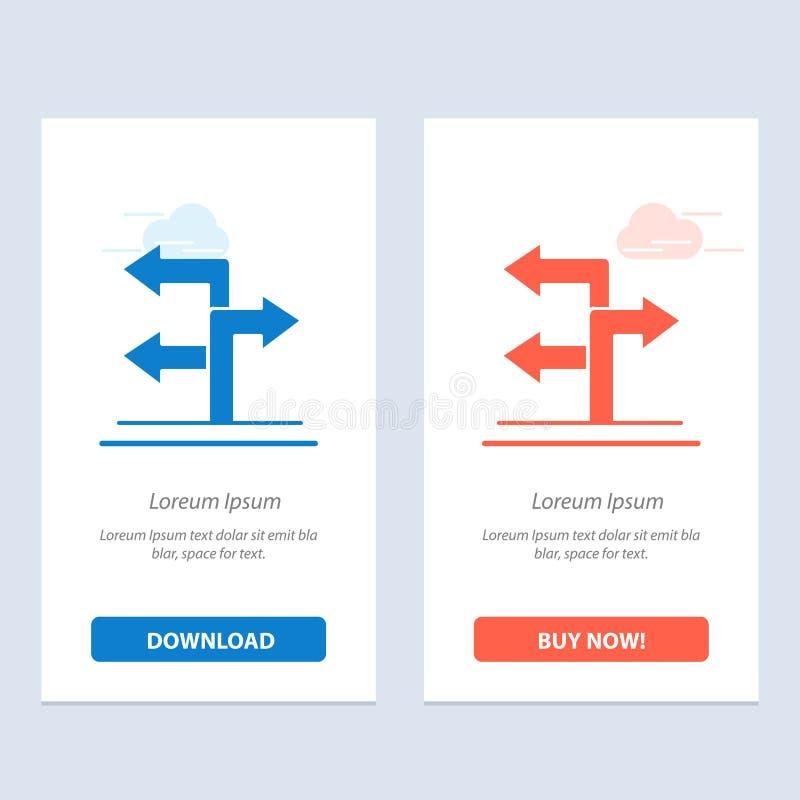 Seta, sentido, azul da navegação e transferência vermelha e para comprar agora o molde do cartão do Widget da Web ilustração stock