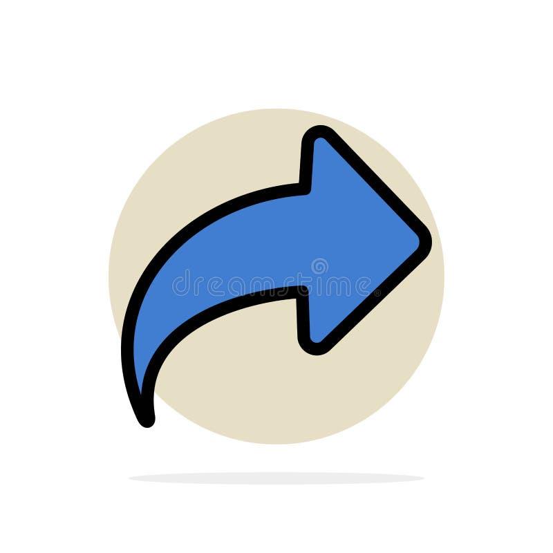 Seta, sentido, direito, ícone liso da cor do fundo abstrato dianteiro do círculo ilustração stock