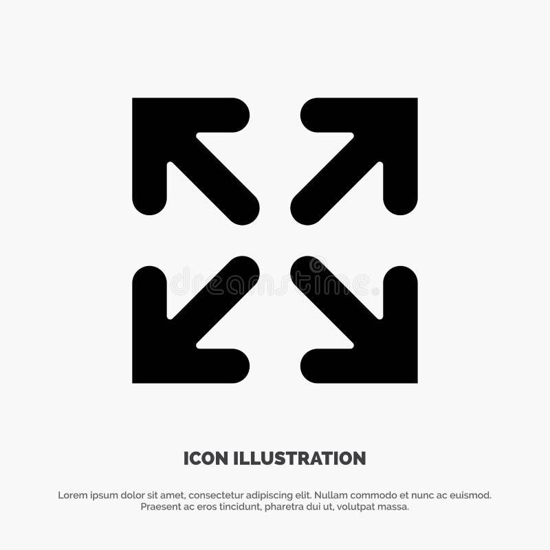 Seta, sentido, vetor contínuo do ícone do Glyph do movimento ilustração stock