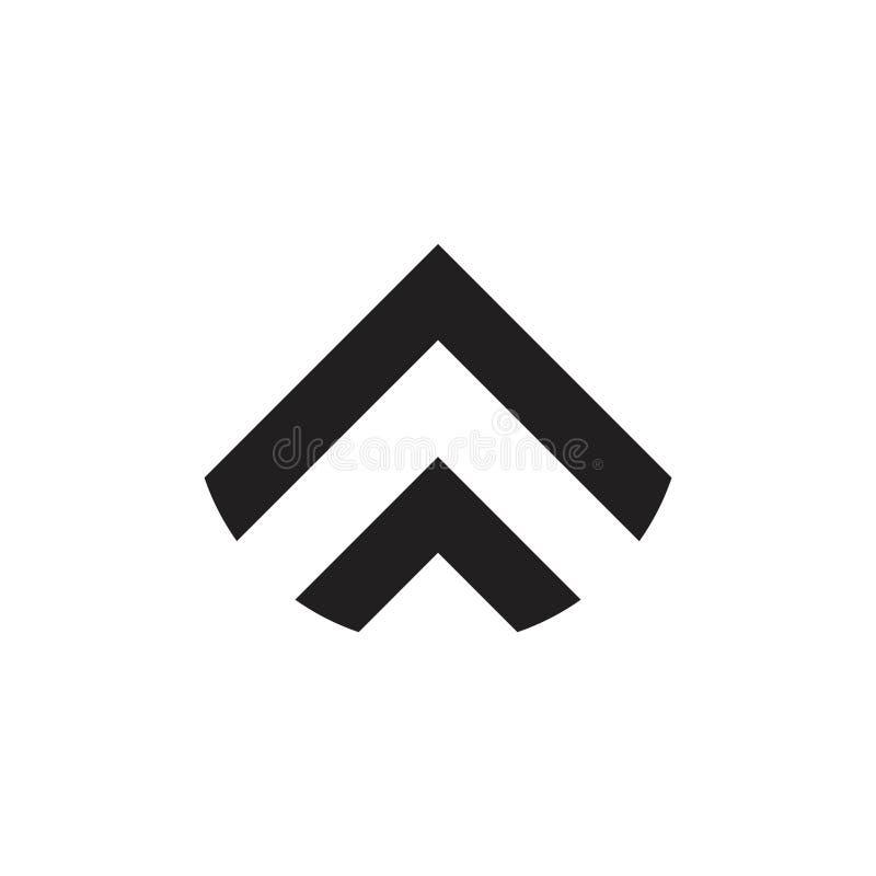 A seta simples listra acima o logotipo geométrico da forma do jato ilustração stock