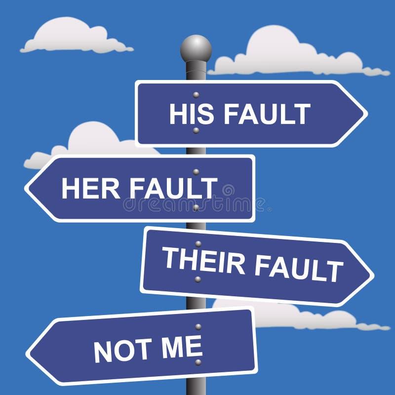 Seta, sinais, não, meus, falha, deslocamento, culpa ilustração royalty free