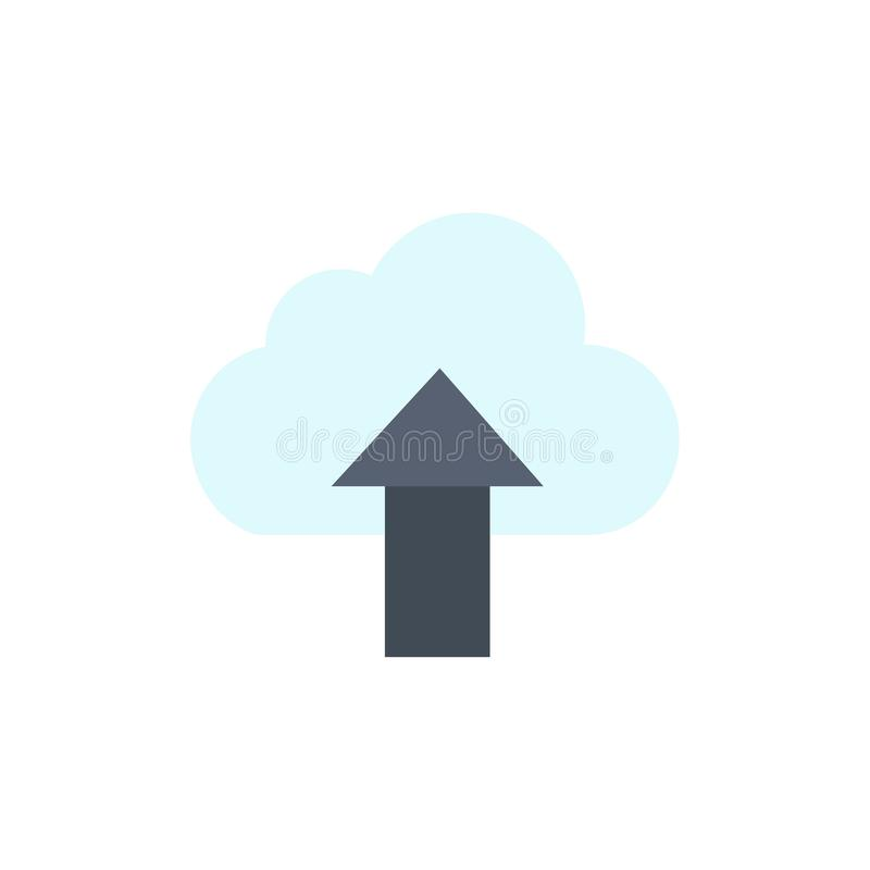 Seta, transferência de arquivo pela rede, acima, ícone liso da cor da nuvem Molde da bandeira do ícone do vetor ilustração do vetor