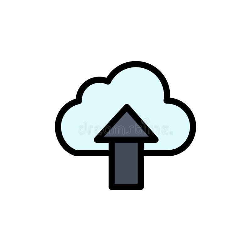 Seta, transferência de arquivo pela rede, acima, ícone liso da cor da nuvem Molde da bandeira do ícone do vetor ilustração stock