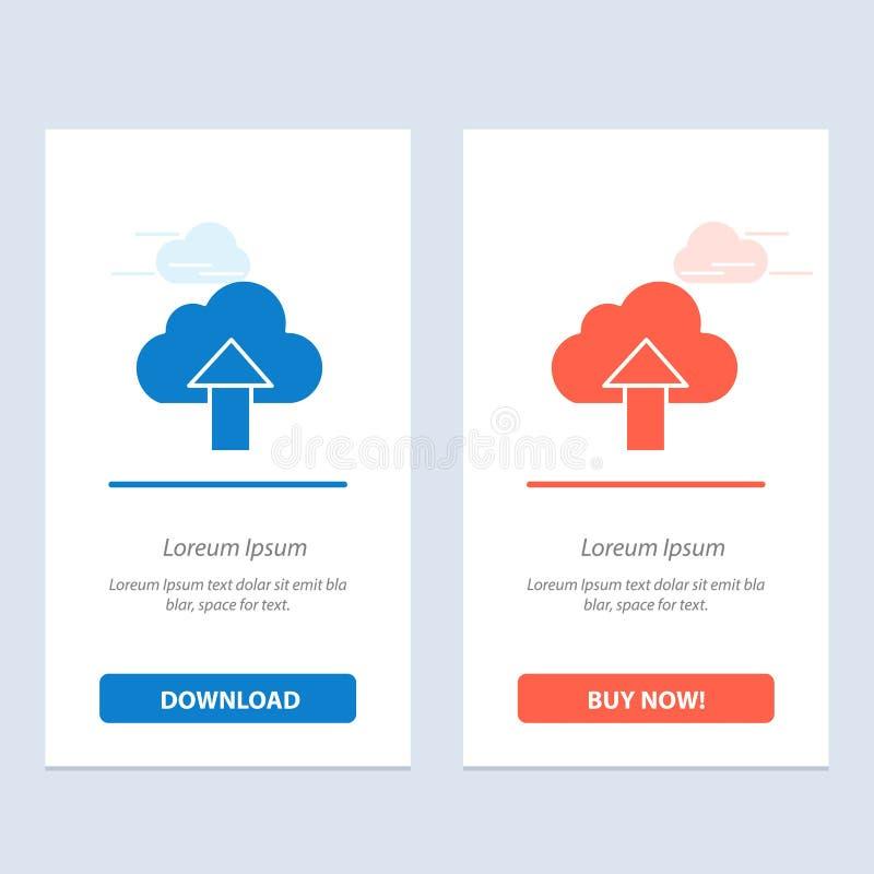 Seta, transferência de arquivo pela rede, acima, azul da nuvem e transferência vermelha e para comprar agora o molde do cartão do ilustração royalty free