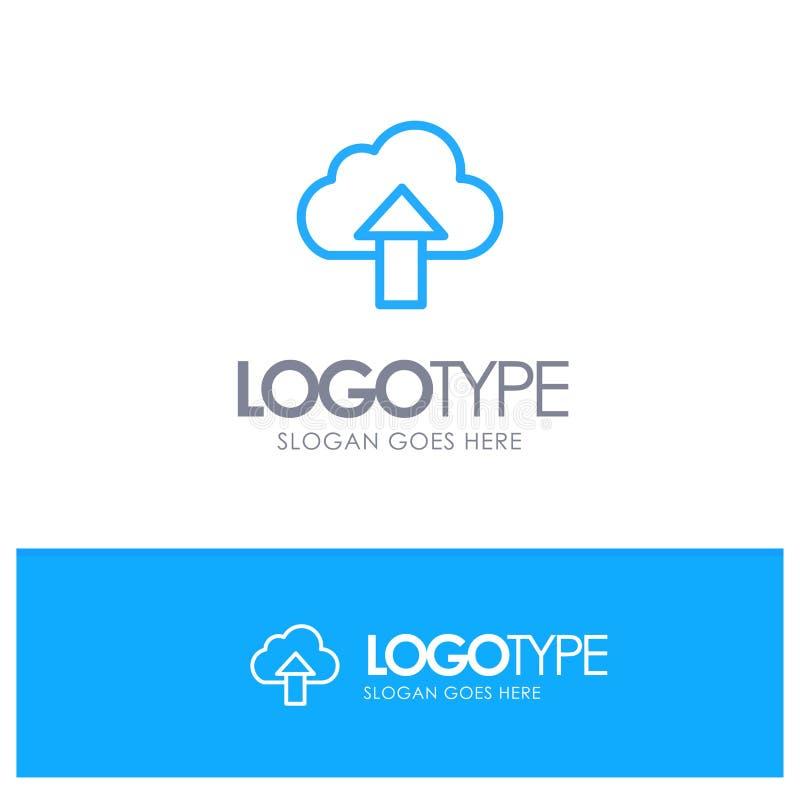 Seta, transferência de arquivo pela rede, acima, logotipo azul do esboço da nuvem com lugar para o tagline ilustração do vetor