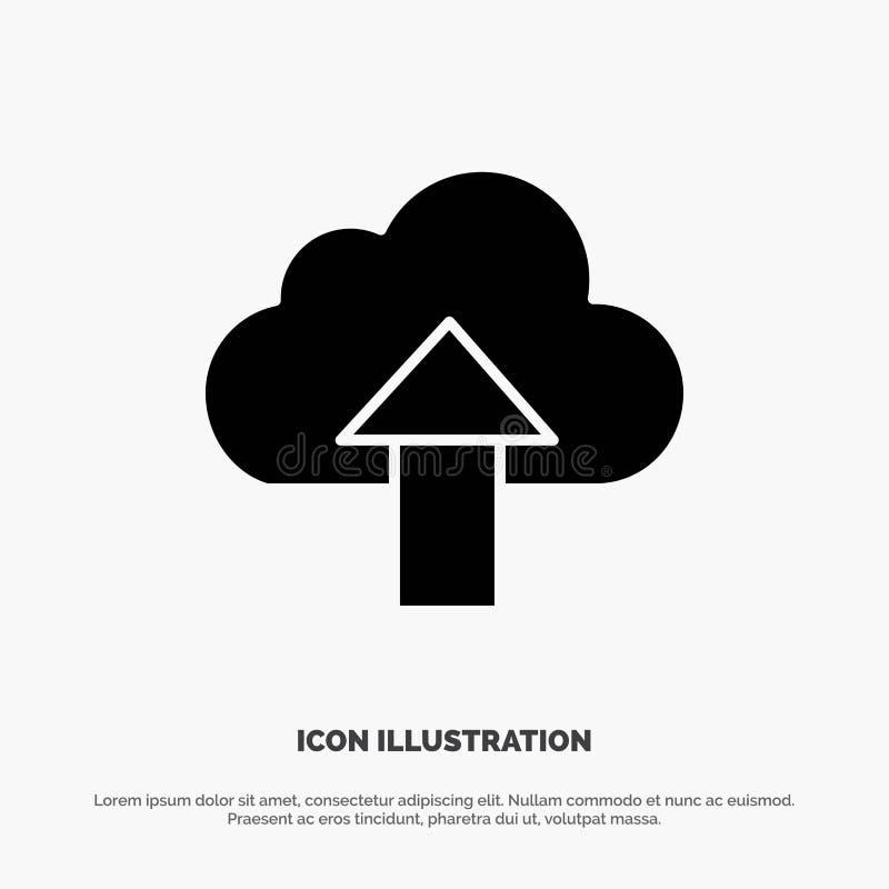 Seta, transferência de arquivo pela rede, acima, vetor contínuo do ícone do Glyph da nuvem ilustração do vetor
