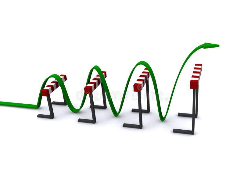 Seta verde que salta sobre obstáculos ilustração royalty free