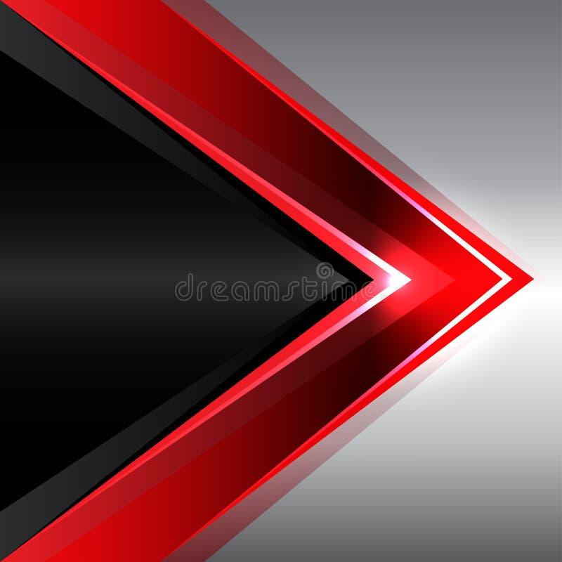 Seta vermelha abstrata no vetor moderno do fundo do projeto preto do metal ilustração do vetor