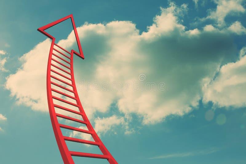 Seta vermelha da escada que aponta acima ilustração stock