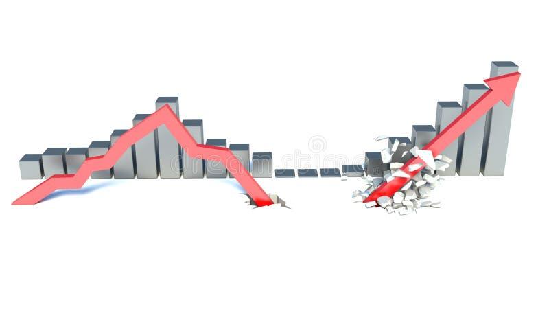 Seta vermelha de queda e levantamento ilustração stock