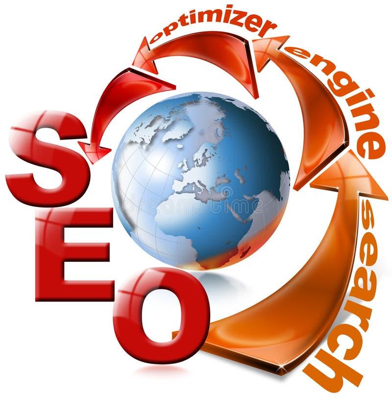 Seta vermelha de SEO - Web da optimização do Search Engine ilustração do vetor