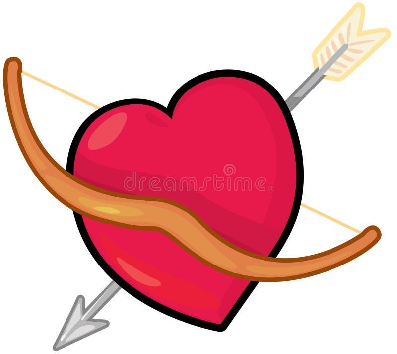 Seta vermelha do coração e do cupid ilustração royalty free