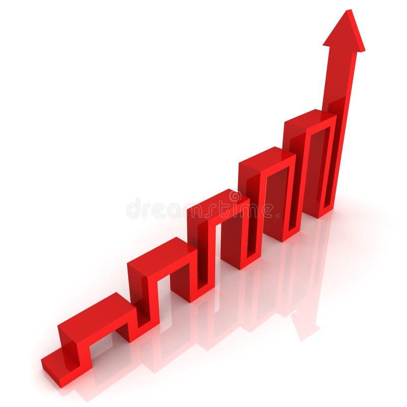 Seta vermelha do gráfico da ascensão do sucesso que cresce acima ilustração royalty free