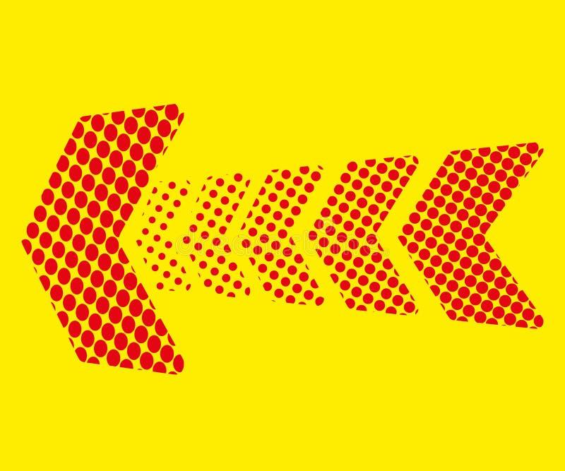 Seta vermelha dos pontos no fundo amarelo Indicador de sentido ilustração stock