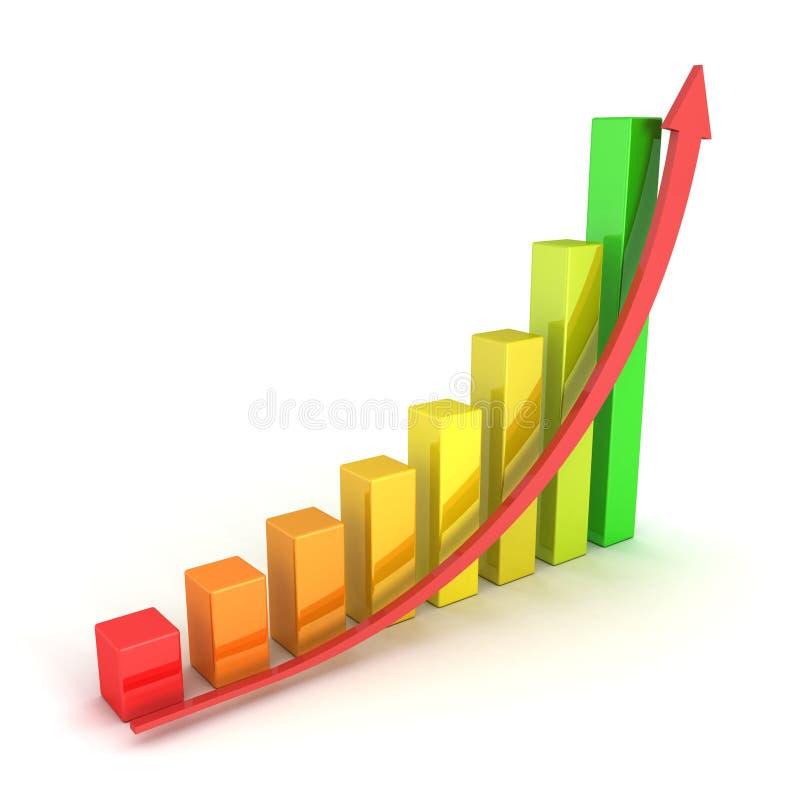 Seta vermelha e gráfico colorido do sucesso que cresce acima ilustração royalty free