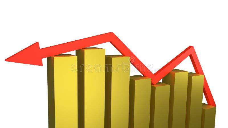 Seta vermelha que senta-se sobre as barras de ouro de encolhimento que representam a falha e a retirada econômicas ilustração do vetor