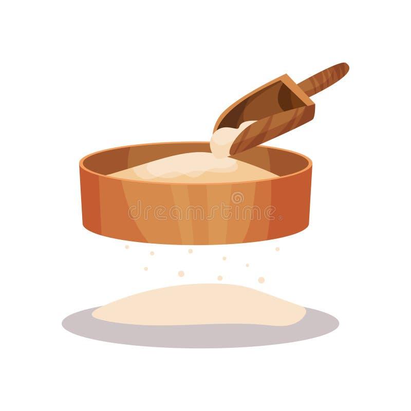 Setaccio della farina e mestolo di legno, illustrazione bollente di vettore dell'ingrediente su un fondo bianco royalty illustrazione gratis