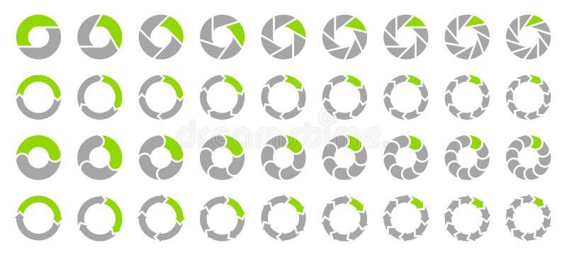 Setas ajustadas Gray And Green dos gráfico de setores circulares ilustração stock