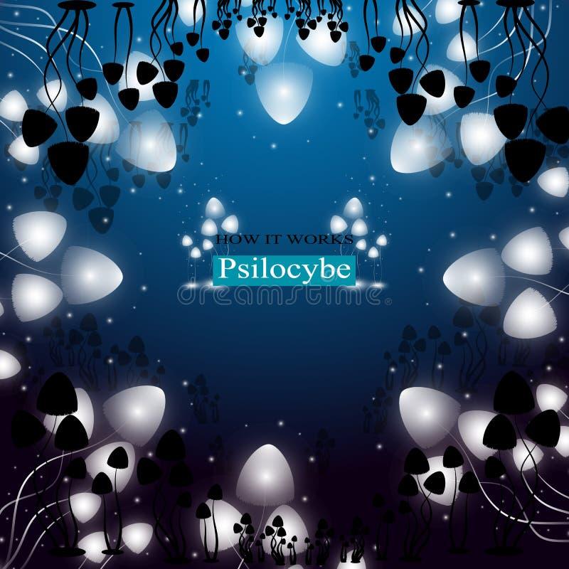 Setas alucinógenas Psilocybe ilustración del vector